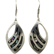 Vintage Taxco Abalone and Sterling Silver Slash Earrings