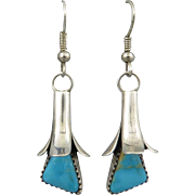 Navajo Kingman Turquoise Squash Blossom Sterling Earrings Signed Doris Smallcanyon