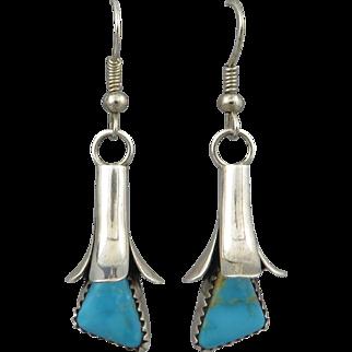 Navajo Kingman Turquoise Squash Blossom Sterling Earrings Signed Doris Smallcanyon