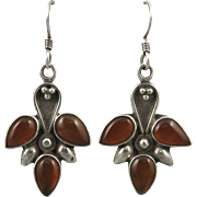 Carnelian and Sterling Tribal Style Dangle Earrings