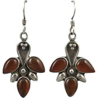 Carnelian and Sterling Tribal Style Dangle Earrings