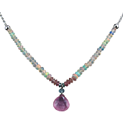 5ct Pink Tourmaline and Welo Opal Sterling Silver Necklace 19""