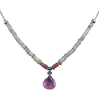 """5ct Pink Tourmaline and Welo Opal Sterling Silver Necklace 19"""""""