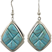 Big Turquoise and Sterling Inlaid Dangle Earring