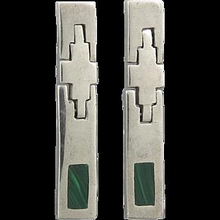 Long Hinged Malachite Sterling Silver Earrings