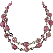 Vendome 2 Strand Sparkling Pink and Iridescent Bead Necklace 17.5""