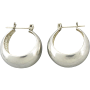 Sculptural Sterling Silver Tapered Hoop Earrings