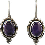 Amethyst and Sterling Silver Lever Back Earrings