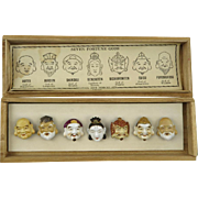 Seven Gods Of Fortune Porcelain Button Set Toshikane (Kojima Porcelain)