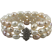 14K 3 Strand Light Pink Cultured Baroque Pearl Bracelet