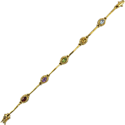 Multi Gemstone Bar Link Bracelet