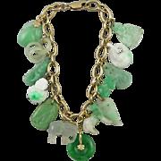 14K Exceptional Carved Jade Charm Bracelet