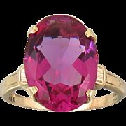 Antique 10K Rose Gold Ruby Color Paste Ring Victorian | Edwardian