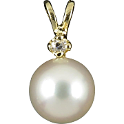 14K Diamond and Akoya Cultured Pearl Pendant