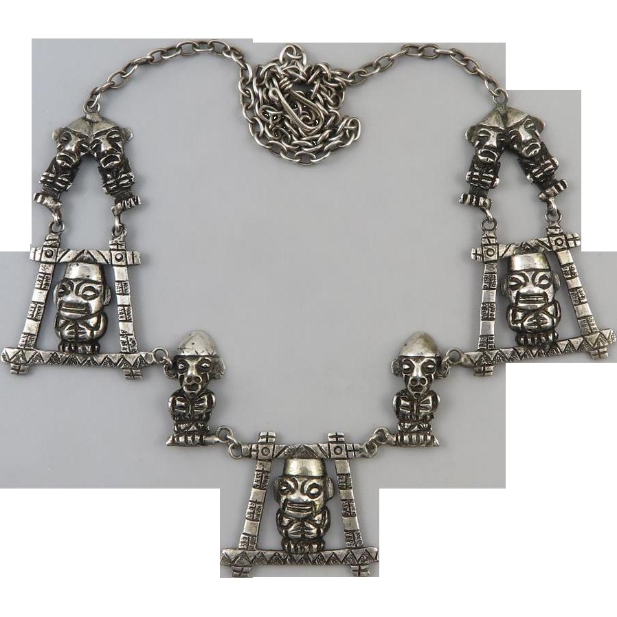 """Mid Century 900 Silver Ecuador Inca Man Necklace 22"""""""