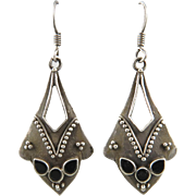 Tribal Style Black Onyx and Sterling Silver Dangle Earrings