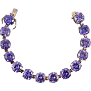 Big Violet Faux Amethyst CZ and Sterling Silver Bracelet