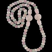 """Aventurine Rose Quartz and Amethyst Necklace 33"""""""