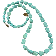 Chinese Export Turquoise Carved Knuckle Bead Necklace 24""