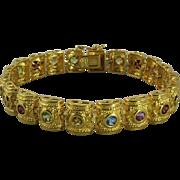 Etruscan Revival Multi Gemstone Panel Bracelet 18K Vermeil
