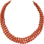 3 Strand Salmon Red Coral Necklace