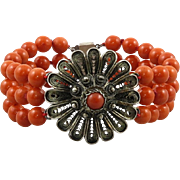3 Strand Salmon Red Coral and Silver FiIigree Bracelet