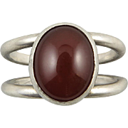 Sleek Sterling Silver and Carnelian Ring