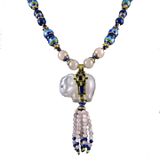 Carved Elephant | Lapis | Garnet | Rose Quartz Tassel Necklace with 18K Enamel Vermeil Beads 32""