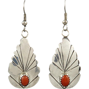 Red Coral and Sterling Silver Feather Dangle Earrings