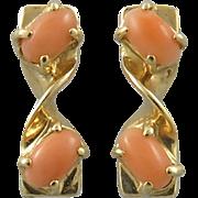 14K Salmon Coral Earrings