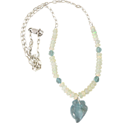 """8.5ct Carved Aquamarine Pendant and Opal Sterling Silver Necklace 19"""""""