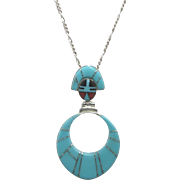 Turquoise and Sterling Inlay Pendant Necklace Signed