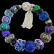 Chinese Blue Lotus Carved Gem and Enamel Treasure Bracelet Sterling Silver