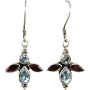 Blue Topaz and Garnet Butterfly Sterling Silver Earrings