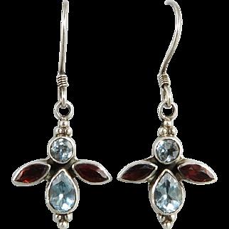 Blue Topaz and Garnet Butterfly Sterling Silver Earrings
