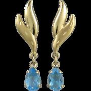 14K Blue Topaz Sparkling Dangle Earrings