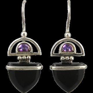 Amethyst Black Onyx Earrings