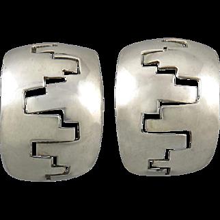 Navajo Harry R. Morgan Large Hoop Sterling Earrings Clip Style c1970