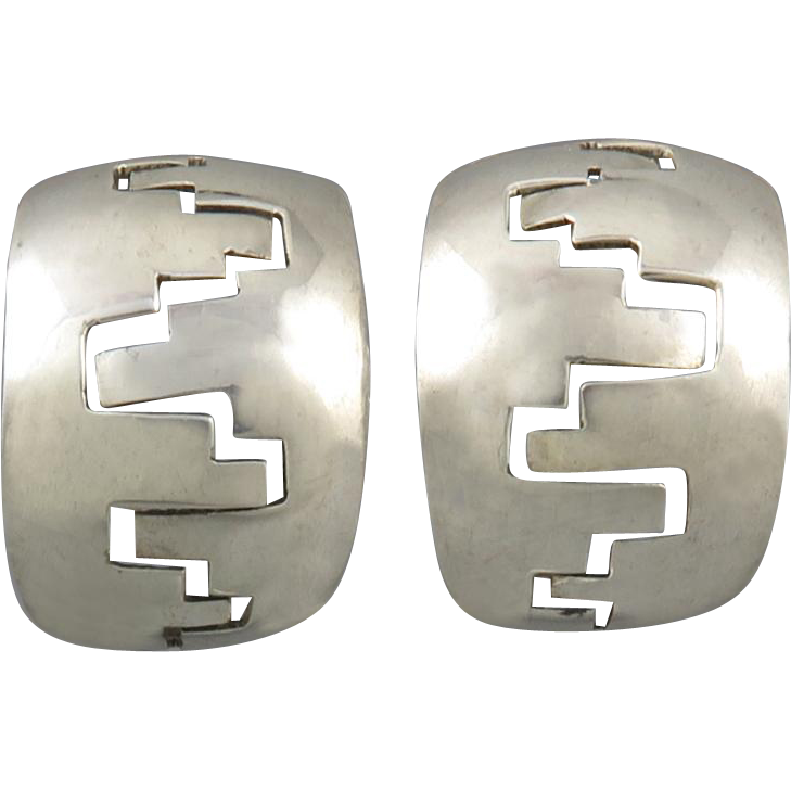 Navajo Harry R. Morgan Large Hoop Sterling Earrings Clip Style c1970
