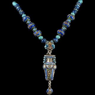 """Chinese Enamel on Silver Needle Case Lapis Necklace 27"""""""