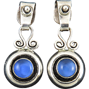 Sterling Silver and Blue Quartz Dangle Earrings