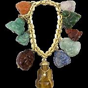 14K Carved Buddha Gemstone Charm Bracelet