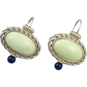 Variscite and Lapis Sterling Silver Earrings