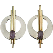 Amethyst Sterling Silver and Gold Fill Modernist Earrings Signed