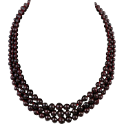 3 Strand Red Garnet Necklace Sterling Silver Clasp 20.5""