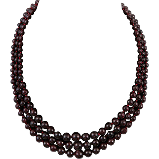 """3 Strand Red Garnet Necklace Sterling Silver Clasp 20.5"""""""
