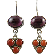 Salmon Coral and Rhodolite Garnet Dangle Style Earrings