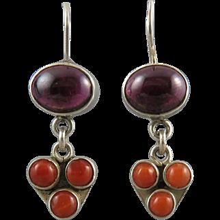 Salmon Coral and Rhodolite Garnet Dangle Style Earrings