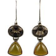 Golden Amber and Smoky Quartz Sterling Silver Dangle Earrings