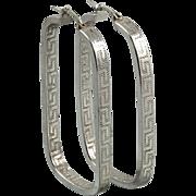 Large Greek Key Design Sterling Silver Hoop Earrings